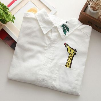 Japanese  Cotton Casual Blouse Female  Giraffe Leaves
