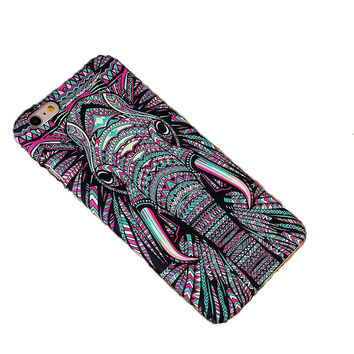 Hot Luminous Embossed Feel Aztec Animal Elephant Chimpanzee Cat Deer Phone Funda Case for Iphone 5 5S SE 6s 6 7 Plus Capa Para