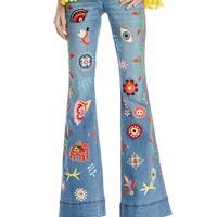 Alice and OliviaRylie Embroidered Low-Rise Bell Bottom Jeans in Faded Indigo