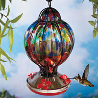 Handblown Glass Hummingbird Feeder Work Of Art Red Flowers 4 Feeding Ports New