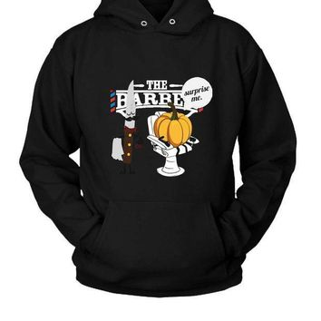 Pumpkin At Barber Shop For Halloween Hoodie Two Sided
