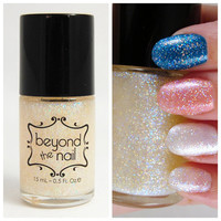 White Rainbow Shifting Glitter Top Coat Nail by beyondthenail