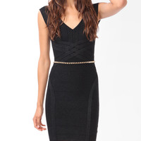 Lattice Paneled Metallic Dress