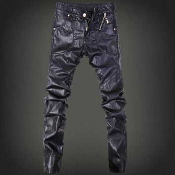 ICIKON3 Mens skinny jeans overalls motorcycle jeans men pu leather pants patchwork denim biker jeans leather joggers size 28 37