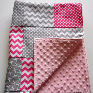 Minky Baby Patchwork Quilt Blanket Pink Gray Riley Blake Chevrons and Dots--Ready to Ship