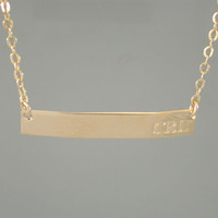 Gold Bar Necklace - Name Plate Necklace - Engraved Necklace-Name Necklace-Initial Necklace