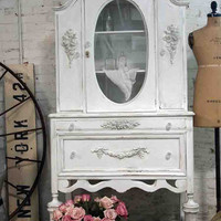 Painted Cottage Chic Shabby OYSTER Romantic French China Cabinet CC383