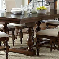 Homelegance Yates Trestle Dining Table - Dark Oak 5167-96