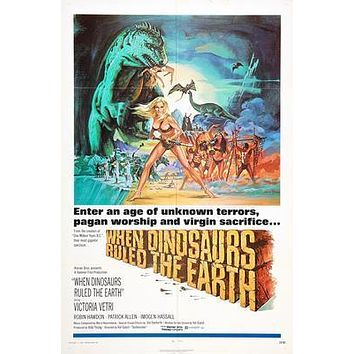 When Dinosaurs Ruled The Earth Movie poster Metal Sign Wall Art 8in x 12in
