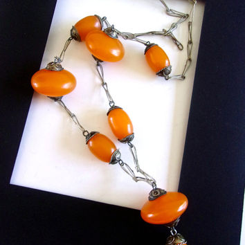 Butterscotch Bakelite Catalin Lavalier Necklace, Ornate End Caps and Long, Vintage