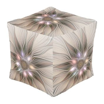 Joyful Flower Abstract Beige Brown Floral Fractal Pouf