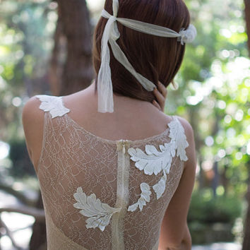 Cream Ivory Bohemian Wedding Dress Beautiful Lace Wedding Long Gown Boho Gown Bridal Gypsy Wedding Dress - Handmade by SuzannaM Designs