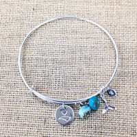 North Carolina Love Charm Bangle // Sterling Silver