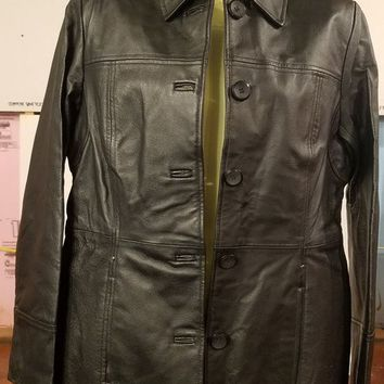 east 5th black leather jacket Women's size small vintage 90s button down blazer style