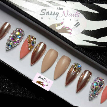 Sassy Glue On Nails: Peach Nude Rose Gold Nails With treasure accents false nails, press on nails, stiletto nails, bling nails