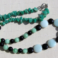 "Amazonite & Black Onyx Crystal Gemstone Necklace - ""Amazon Mist"" - Clearance Price"