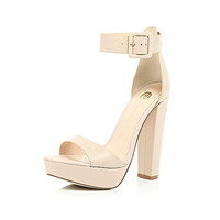 River Island Womens Nude leather platform sandals
