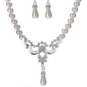 Imitation Pearl Necklace and Earrings Jewelry Gift for Brides (Size: One Size, Color: White)