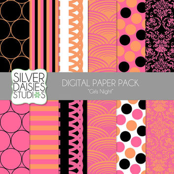 "Girls Night Digital Paper 12 Pack INSTANT DOWNLOAD - 12""x12"" Girls Night Themed Set - Digital Scrapbooking - pink, orange and black"