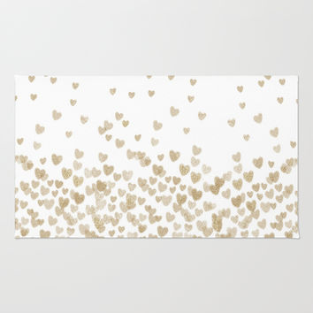 Gold Glitter Hearts - White Background for Valentines Day, Love, Bokeh, for trendy girls cell phone Rug by CharlotteWinter