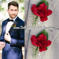 Boutonniere Red Wedding Boutonniere Red lapel pin Groomsman Boutonniere Rustic Boutonniere  mens red boutonniere Red Corsage etsy
