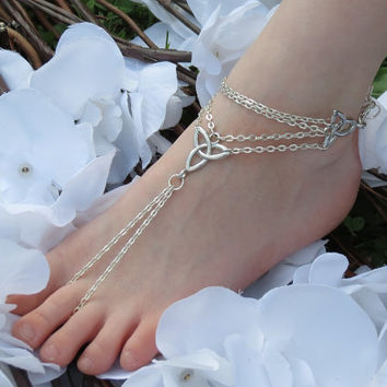 One Celtic Barefoot Sandal, Irish Pride, Celtic Knot, Infinity, Anklet, Trinity, Foot Chain, Sandle, Footless Sandal, Girls, Womens