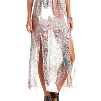 Double Slit Paisley Print Maxi Skirt by Charlotte Russe - White Combo