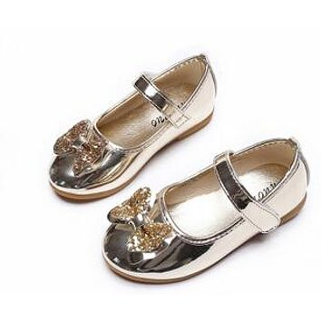 Baby Girl Shoes with Glitter Bows Patent Leather Mary Jane