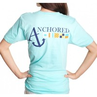 Coastal Nautical Flag Tee Shirt in Light Aqua by Anchored Style