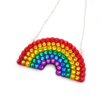 Sparkly Rainbow Necklace - Multicoloured ROYGBIV Pendant - Red Orange Yellow Green Blue Purple Kitsch Rhinestone Jewellery