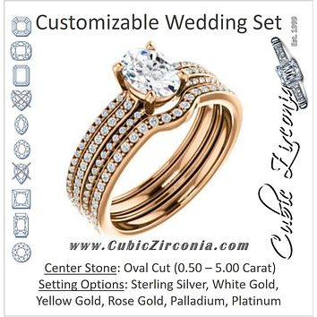 CZ Wedding Set, featuring The Isidora engagement ring (Customizable Oval Cut Center with Wide Triple Pavé Band)