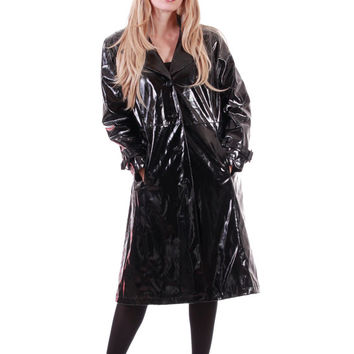 Black PVC Raincoat Wet Look Goth Minimal Futuristic Vinyl Rain Coat Long Midi Slicker 90s Vintage Clothing Womens Size Large XL