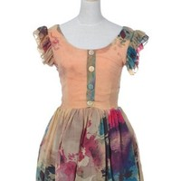 Anna-Kaci S/M Fit Peachy Multicoloured Pouf Sleeve Water Color Art Party Dress