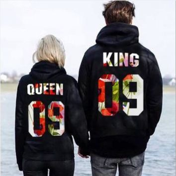 Stamp hooded long sleeved couples dress loose hoodies