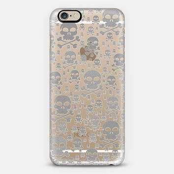 Glitter Silver Skulls Transparent iPhone 6 case by Alice Gosling | Casetify