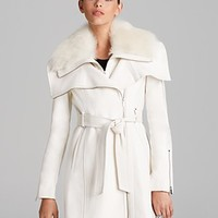BCBGMAXAZRIA Coat - Asymmetric Belted Fur Collar | Bloomingdale's