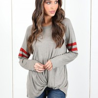 Striped Sleeve Round Neck Knot Hem Tee - NOVASHE.com