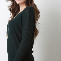 Semi-Sheer Ribbed Knit Top