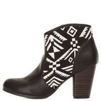 Black Qupid Aztec Canvas Chunky Heel Booties by Charlotte Russe