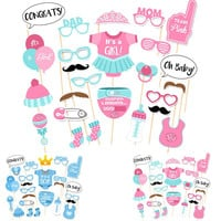 25ps Baby Shower Photo Booth Props Its a Boy Girl Fun 1st Birthday Party Decoration PhtotoBooth Mustache on A Stick Centerpieces