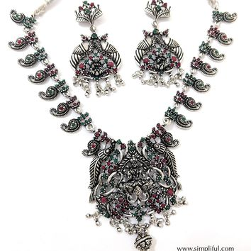 Oxidized Goddess Lakshmi Pendant with Mango chain Necklace and Earring set