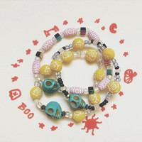 Turquoise Skull Day of the dead Bracelets . FREE U.S SHIPING. one size fits all, Perfect for halloween and everyday outfits!