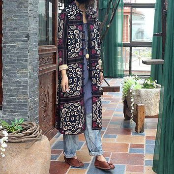 2015 Autumn Original Design Women Ethnic Vintage Printed Terry Cotton Cardigan Coat Female Retro Plaid Loose Robe Trench Outwear
