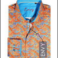 Envy Men's Long Sleeve Button Down Paisley Dress Shirt Turquoise