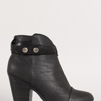 Snap Button Strap Chunky Heel Ankle Bootie