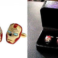 Iron Man Gold Tone Cuff Links with box wedding Groomsmen Gift