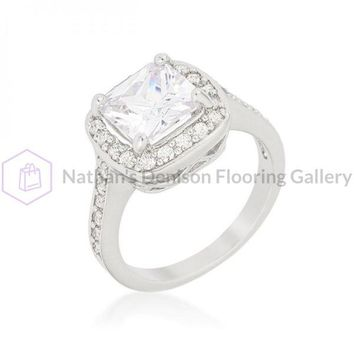 Halo Style Cushion Cut Engagement Ring (size: 10) R08387R-C01-10