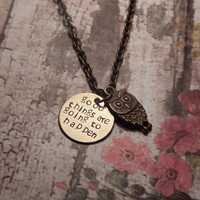 Custom Quote Owl Necklace - CHOOSE ANY QUOTE