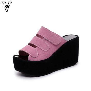 VTOTA Fashion Slippers Summer Shoes Woman Wedges Platform Shoes Woma Sandals High Quality High Heels Beach Slippers Flip Flops