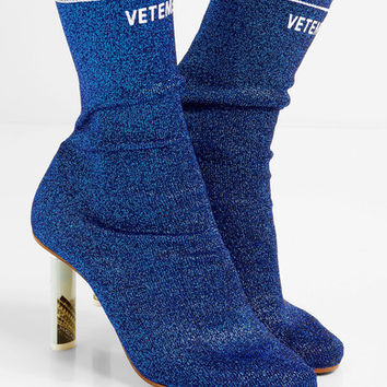 Vetements - Glittered stretch-knit sock boots